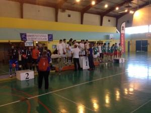 Podium du championnat de France UNSS Futsal 2014 à Bar-Le-Duc.